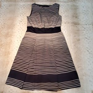 Talbots Petites Navy and White Striped ALine Dress